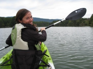 Strong girl KP Madonia kayaking in Charlottesville