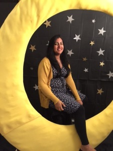 Aisha enjoying the moon and stars props at the Girls of Summer launch party in June.